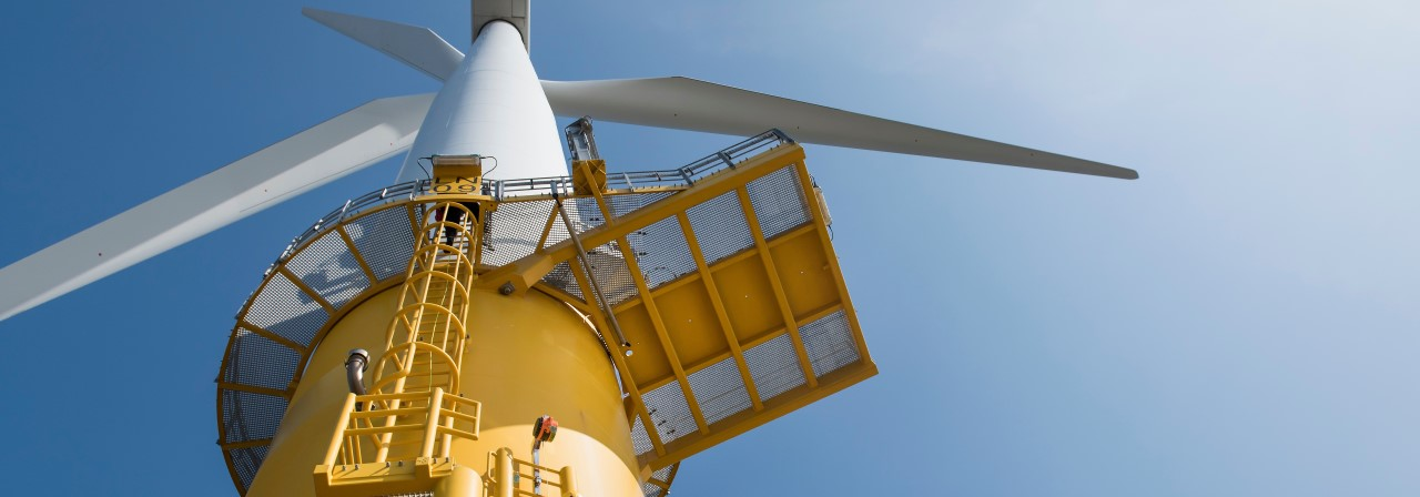 Yellow wind turbine